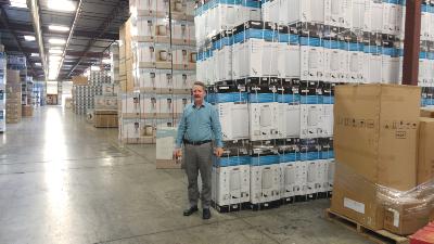 Jim Estill in the Danby warehouse